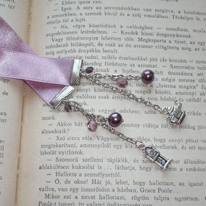 Vintage romantika - rózsaszín szatén könyvjelző ezüsttel (Boriboszi) - Meska.hu