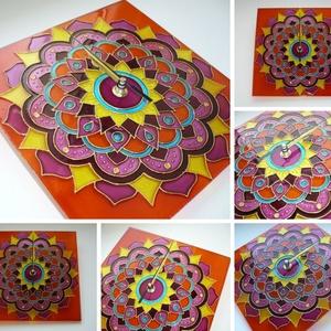 Mandala élénk színvilággal - egyedi festett üveg falióra, Dekoráció, Otthon & lakás, Lakberendezés, Falióra, óra, Festett tárgyak, Üvegművészet, Egyedi, ismét saját tervezésű mandala üvegórát készítettem lila, sötét rózsaszín, narancs, sárga, va..., Meska