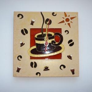 Kávé- egyedi festett üveg falióra (Boriboszi) - Meska.hu