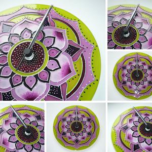 Tavaszi mandala - zöld, rózsaszín, mályva virágos mandala egyedi festett üveg falióra, Dekoráció, Otthon & lakás, Lakberendezés, Falióra, óra, Festett tárgyak, Üvegművészet, Egyedi, saját tervezésű, virágszirmokból, ívekből felépülő mandala órát készítettem rózsaszín, mályv..., Meska