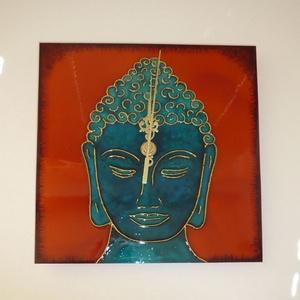 Türkizzöld-narancs Buddha egyedi festett üveg falióra (Boriboszi) - Meska.hu
