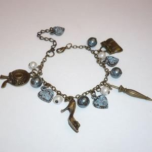 Vintage divat - réz, kék csüngi-büngis karkötő (Boriboszi) - Meska.hu