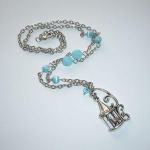 Vintage romantika - ezüst-kék nyaklánc (Boriboszi) - Meska.hu