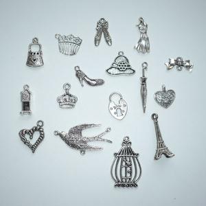 Vintage és romantika - antikolt ezüst színű vintage függő (medál) gyűjtemény (Boriboszi) - Meska.hu