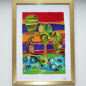 Varázserdő - üvegre festett falikép, festmény, Kép & Falikép, Dekoráció, Otthon & Lakás, Festett tárgyak, Üvegművészet, Különleges, varázslatos erdőbe repít ez a kép, mely nem csak gyerekszobába lelhet otthonra...\n\nTelje..., Meska