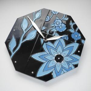 Kék virágok feketével - egyedi festett üveg falióra (Boriboszi) - Meska.hu