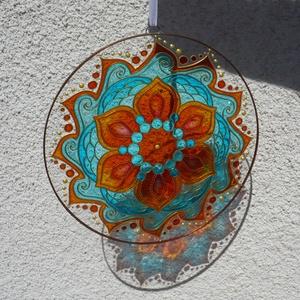 Tengervirága mandala - egyedi üvegre festett mandala ablakdísz, fényfogó, Otthon & lakás, Dekoráció, Lakberendezés, Festett tárgyak, Üvegművészet, Ha egyedi, igazán nyárias, energikus, és egyben harmonikus ablakdíszt (lakásdekorációt) keresel, mos..., Meska