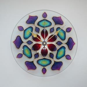 Univerzum (Egység és szétáradás)- egyedi festett mandala üveg falióra, Otthon & Lakás, Falióra & óra, Dekoráció, Festett tárgyak, Üvegművészet, Univerzum... belső erő... szétáradás és egység... laza és könnyed kapcsolódás a Mindennel...  Nagyo..., Meska