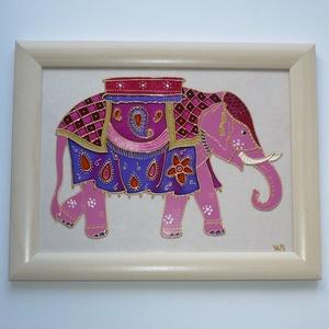 Indiai Elefánt - üvegre festett falikép, Otthon & Lakás, Dekoráció, Kép & Falikép, Festett tárgyak, Üvegművészet, Ez a különleges, színes elefánt kép vidám színfoltja lehet otthonodnak, ám ajándéknak is tökéletes v..., Meska
