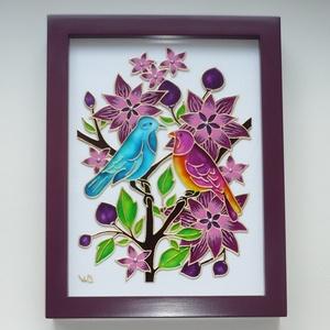 Madárkák - üveg festmény, falikép, Otthon & Lakás, Dekoráció, Kép & Falikép, Festett tárgyak, Üvegművészet, 2018. volt a madarak éve, de úgy gondoltam, 2019-ben is megérdemelnek egy különleges képet...\n\nEz a..., Meska