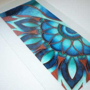 """Teal - Copper Mandala részlet - üvegre festett kép, ablakbetét, festmény, Otthon & lakás, Dekoráció, Lakberendezés, Falikép, Kép, Képzőművészet, Festmény, Festett tárgyak, Üvegművészet, Egy saját részre tervezett és festett lámpa motívumait dolgoztam fel ebben a képben. :)\n\nEz a \""""kéts..., Meska"""