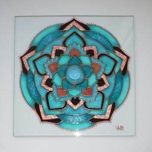 Türkiz-barna ötszögletű Mandala - üvegfestett falikép, Otthon & Lakás, Kép & Falikép, Dekoráció, Festett tárgyak, Üvegművészet, Meska