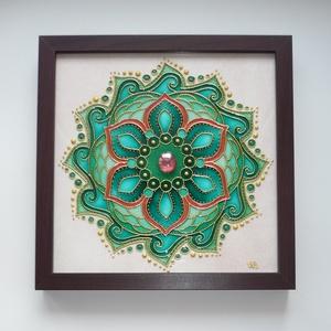 Smaragd Varázslat - üvegfestett mandala falikép, Otthon & lakás, Dekoráció, Lakberendezés, Falikép, Festett tárgyak, Üvegművészet, Különleges, egyszerre légies, ám erőteljes mandalát festettem a zöld, smaragdzöld szerelmeseinek.  ..., Meska