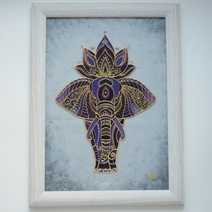 Lila Elefánt - üvegre festett falikép, festmény, Otthon & lakás, Dekoráció, Lakberendezés, Falikép, Kép, Ez a különleges, elefánt kép vidám színfoltja lehet otthonodnak, ám ajándéknak is tökéletes választá..., Meska