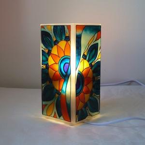Türkiz-narancs mandala - egyedi festett üveglámpa, Otthon & lakás, Lakberendezés, Lámpa, Hangulatlámpa, Festett tárgyak, Üvegművészet, Rendelésre készülő termék!\n\nSaját minta alapján festettem, egymással harmonizáló türkizzöld, türkizk..., Meska