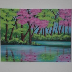 Fák a folyó partján - egyedi akril festmény, falikép, Otthon & Lakás, Dekoráció, Kép & Falikép, Festett tárgyak, Festészet, Graham Gercken River Reflections c. festménye nyomán festettem, kicsit más színekkel és hangulatban...., Meska