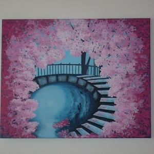 Cseresznyefák - akril festmény, falikép - Meska.hu