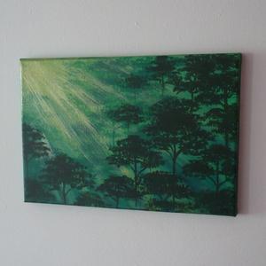 Zöld erdő - egyedi akril festmény, falikép, Akril, Festmény, Művészet, Festett tárgyak, Festészet, Zöld erdő napsütésben... :)\n\n20x30cm-es feszített vászonra festettem, akrilfestékkel.\nAz oldalait is..., Meska