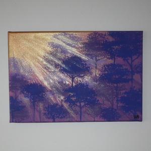 Lila erdő - egyedi akril festmény, falikép, Akril, Festmény, Művészet, Festett tárgyak, Festészet, Lila erdő napsütésben... :)\n\n20x30cm-es feszített vászonra festettem, akrilfestékkel.\nAz oldalait is..., Meska
