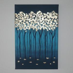 Arany erdő - egyedi akril festmény, falikép 20x30, Akril, Festmény, Művészet, Festett tárgyak, Festészet, Absztrakt erdő, a minimalizmus jegyében... :)\n\n20x30cm-es feszített vászonra festettem, akrilfestékk..., Meska