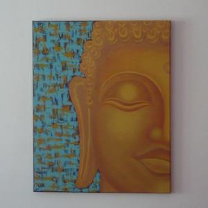 Arany Buddha - egyedi akril festmény, falikép 40x50, Otthon & lakás, Lakberendezés, Falikép, Képzőművészet, Festmény, Akril, Festett tárgyak, Festészet, Harmóniát és nyugalmat sugárzó, egyedi Buddha akrilfestmény.\nIdeális helye lehet egy természetgyógyá..., Meska