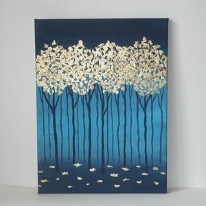 Arany erdő - egyedi akril festmény, falikép 30x40, Otthon & lakás, Lakberendezés, Falikép, Dekoráció, Képzőművészet, Festmény, Akril, Kép, Absztrakt erdő, a minimalizmus jegyében... :)  30x40cm-es feszített vászonra festettem, akrilfestékk..., Meska