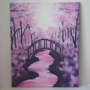 Híd a cseresznyefák alatt - akril festmény, falikép, Otthon & lakás, Lakberendezés, Falikép, Dekoráció, Képzőművészet, Festmény, Akril, Kép, Festett tárgyak, Festészet, Julie Ducap Híd a cseresznyefák alatt c. képe alapján festettem, egyéni stílusban. :)\n\n40x50cm-es fe..., Meska