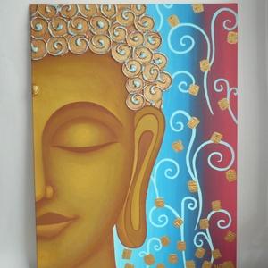 Buddha - egyedi akril festmény, falikép 30x40, Otthon & lakás, Lakberendezés, Falikép, Képzőművészet, Festmény, Akril, Festett tárgyak, Festészet, Egyedi, harmóniát és nyugalmat sugárzó Buddha kép keresi otthonát egy lakásban, vagy akár természetg..., Meska