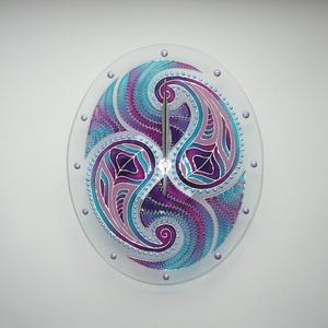 Kasmírminta - egyedi festett üveg falióra, Falióra & óra, Dekoráció, Otthon & Lakás, Festett tárgyak, Üvegművészet, Egy új mintám alapján készítettem ezt az órám, amit ezúttal ovális üveglapra festettem. Ennek a motí..., Meska