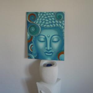 Türkiz Buddha - egyedi akril festmény, falikép 40x50, Otthon & Lakás, Kép & Falikép, Dekoráció, Festett tárgyak, Festészet, Meska