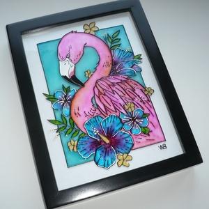 Flamingó - üvegre festett falikép, festmény - Meska.hu