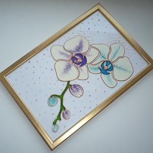 Orchideák - üvegre festett falikép, festmény, Otthon & Lakás, Dekoráció, Kép & Falikép, Festett tárgyak, Üvegművészet, Meska