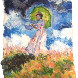 Esernyős hőlgy- Monet után - Meska.hu