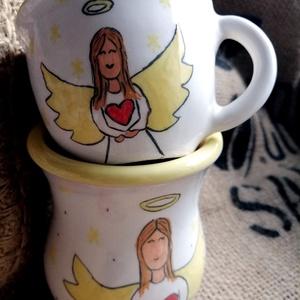 Angyalos csésze + váza, Otthon & Lakás, Fürdőszoba, Fogkefetartó, Kerámia, Angyalos mintájú csésze hozzáillő vázával (vagy fogkefe tartónak is lehet használni). \n\nCsésze méret..., Meska
