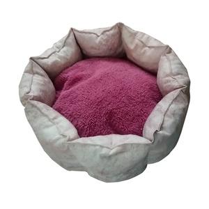 Rózsaszín mintás kisállat fekhely kivehető párnával, Otthon & lakás, Lakberendezés, Állatfelszerelések, Bútor, Varrás, Rózsaszín mintás, rózsaszín szőrme és patchwork jellegű anyag kombinálásával készítettem kisállat fe..., Meska