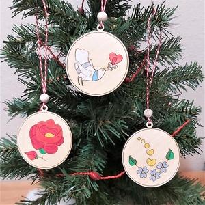 Kalocsai karácsonyfadíszek fagyönggyel 1.0, Karácsony, Adventi díszek, Gravírozás, pirográfia, Festett tárgyak, Meska