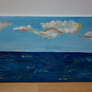 Felhős ég, Akril, Festmény, Művészet, Festészet, Akril festmény feszített vásznon, lakk fedőréteggel, 30x70 cm, Meska