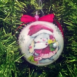 Karácsonyi állatkás nagy gömb , Dekoráció, Karácsonyi, adventi apróságok, Ünnepi dekoráció, Decoupage, transzfer és szalvétatechnika, Karácsonyi    állatkás  nagy gömb   Nagyon szép , kifejezetten gyerekeknek szánt mintával , hiszen ..., Meska