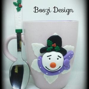 """Karácsonyi \""""Kalapos Hóember\"""" bögre szett., Bögre & Csésze, Konyhafelszerelés, Otthon & Lakás, Gyurma, Kedves látogató! Köszönöm, hogy meglátogattad boltomat és megnézted az általam egyedi elképzelés ala..., Meska"""