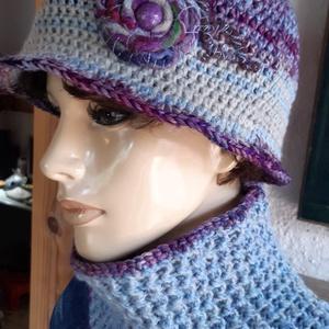 Laura, női kalap, sapka, kötött, horgolt, gyapjú, Táska, Divat & Szépség, Ruha, divat, Sál, sapka, kesztyű, Női ruha, Kabát, Póló, felsőrész, Horgolás, Kötés, Saját tervezésű, egyedi, karakteres, elegáns horgolt kalap és hozzá illő körsál.  100 % puha gyapjú,..., Meska