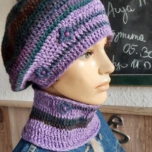 Lavanda, női kalap, sapka, sál, kötött, horgolt, gyapjú, szett (bosziujjak) - Meska.hu