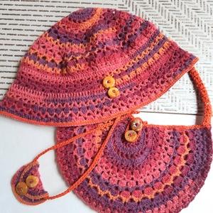 Nyári kalap, táska, nyakék szett,  borostyán gombbal, Ruha & Divat, Női ruha, Horgolás, Kötés, Különleges, mandala mintás nyári szettet horgoltam, (kalap, szütyő, nyakdísz) prémium minőségű gyapj..., Meska