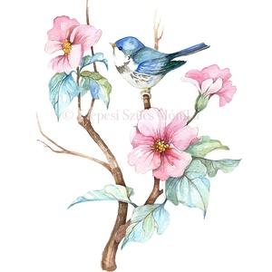 Rododendron cinegével - Print (Akvarell), Képzőművészet, Otthon & lakás, Festmény, Dekoráció, Kép, Festészet, Fotó, grafika, rajz, illusztráció, Az eredeti illusztráció akvarellel készült, a print jó minőségű, A/4-es, 250 g/m2-es papírra van nyo..., Meska