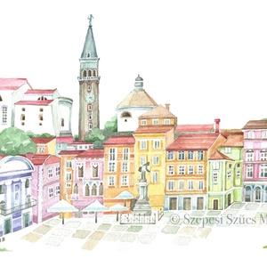 Piran - Szlovénia - Print (Akvarell), Képzőművészet, Otthon & lakás, Festmény, Dekoráció, Kép, Festészet, Fotó, grafika, rajz, illusztráció, Az eredeti illusztráció akvarellel készült, a print jó minőségű, A/4-es, 250 g/m2-es papírra van nyo..., Meska