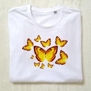 Sárga táncoló pillangók, Póló, felső, Női ruha, Ruha & Divat, Fotó, grafika, rajz, illusztráció, Mindenmás, Hogyan lehetne a Föld egy jobb hely?\nA szeretet és a türelem a válasz. Magunkkal és a világgal szemb..., Meska