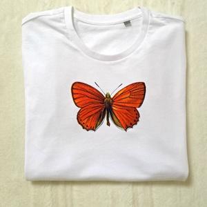 Narancs pillangó, Póló, felső, Női ruha, Ruha & Divat, Fotó, grafika, rajz, illusztráció, Mindenmás, Viseld a környezet és állatbarát bio pamut pólóinkat és szárnyalj, mint ez a gyönyörű pillangó.  \n\nK..., Meska
