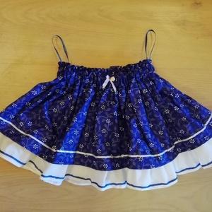 Kékfestő lánykaszoknya, Szoknya, Babaruha & Gyerekruha, Ruha & Divat, Varrás, Gumis derekú fodros szoknya lányoknak. 80-152-es méretig készítem., Meska
