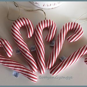 Karácsonyi cukorpálcák, Otthon & Lakás, Karácsony & Mikulás, Karácsonyi dekoráció, Varrás, Piros - fehér csíkos textilből varrtam ezeket a cukorpálcákat, amelyek igazi karácsonyi hangulatot á..., Meska