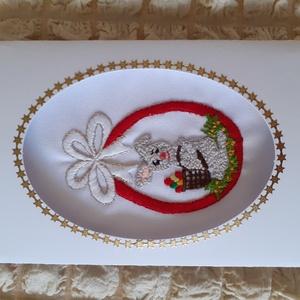 Kézzel himzett képeslap, húsvéti tojás, Fonal, cérna, Papír, Mindenmás, Hímzés, Kézzel himzett, egyedi képeslapjaimat ajánlom névnapra, születésnapra, karácsonyra, most  húsvétra...., Alkotók boltja