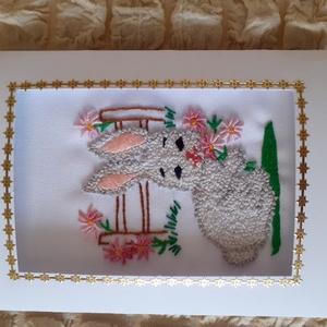 Kézzel himzett képeslap, nyuszi, Fonal, cérna, Papír, Mindenmás, Hímzés, Kézzel himzett, egyedi képeslapjaimat ajánlom névnapra, születésnapra, karácsonyra, most  húsvétra...., Alkotók boltja